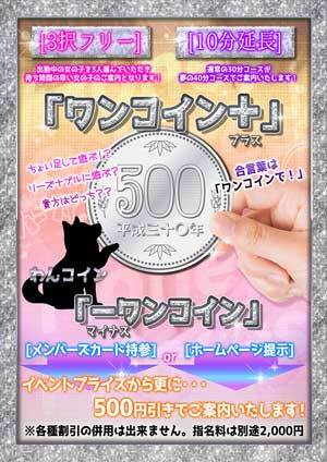 目黒ハニープリンセス【ワンコイン+】は、イベント料金に+500円で【3択フリー】or【10分延長】