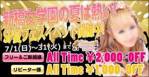 新橋女学園「HP見た」の一言で、ご新規フリーなら最大2000円OFF!