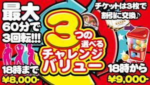 川崎ブルギャルダブルチャレンジ、トリプルチャレンジが一律8000円